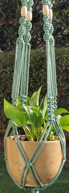 CROWNE ROYALE Teal Green #Handmade #Macrame Plant Hanger in SAGE by #ChironCreations via @Etsy http://etsy.me/1NYH4JN #home #homedecor #garden #patio #apartment