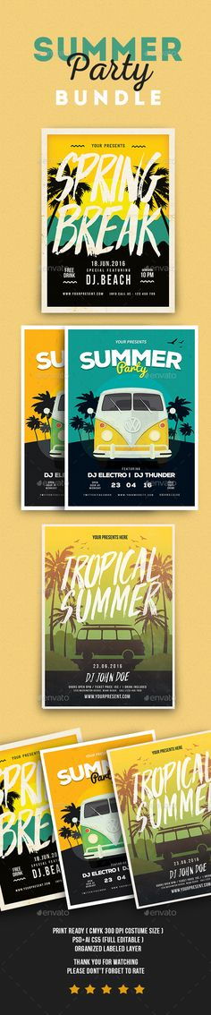 Summer Event Flyer Template PSD, AI Illustrator Bundle. Download here: https://graphicriver.net/item/summer-event-flyer-bundle/17478563?ref=ksioks