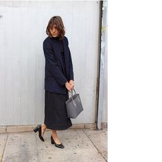 29 Perfect Looks To Copy This February #refinery29  http://www.refinery29.com/2016/02/102325/new-outfit-ideas-february-2016#slide-23  Make a simple black shift and navy blazer feel more modern with a pair of sleek (and easy-to-walk-in) grandma heels.Maryam Nassir Zadeh shoes....