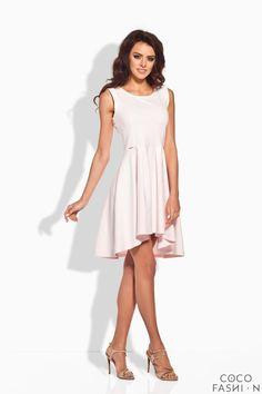 Powder Pink Dipped Hem Coctail Dress