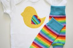 Yellow and White Polka Dot Baby Chick Rainbow Heart Applique, White Onesie or Tshirt, Striped Leg Warmers, Leggings Infant Big Girl Toddler. $19.00, via Etsy.