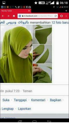 a nice decorative one piece hijab. for ME i would put a scarf over it, but i love that the front has these gathers Muslim Dress, Hijab Dress, Sewing Basics, Sewing Hacks, Tudung Shawl, Abaya Pattern, Hijab Cartoon, Hijab Tutorial, Mode Hijab