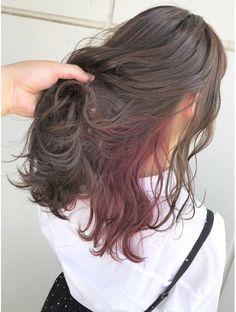 スリー 表参道 原宿(THREE)人気のラベンダーベージュ×ピンクパープルインナー 境 担当 Hidden Hair Color, Two Color Hair, Hair Color Streaks, Hair Dye Colors, Hair Color For Black Hair, Cool Hair Color, Green Hair, Hair Highlights, Pink Hair