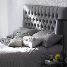 grey tufted headboard... On my to do list for our king sized bed!