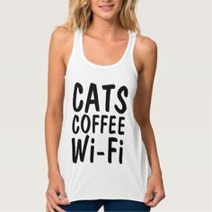#funny - #Funny CAT t-shirts CATS COFFEE Wi-Fi Tank Top
