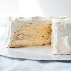 The crepes can be refrigerated, wrapped in plastic wrap, up to two days; or frozen, wrapped in paper towels (to absorb moisture when thawing) and plastic wrap and placed in a freezer bag, up to one month. Thaw completely at room temperature before assembling the cake. The curd can be refrigerated, covered with plastic resting on its surface, up to one week. Although the cake is best when assembled on the day it's being served, it can be refrigerated, assembled and uncovered, up to one day.
