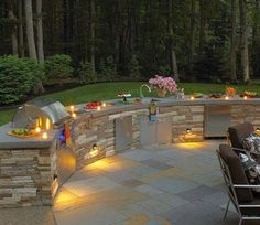 Cook outdoors in style by transforming your backyard or patio into a unique outdoor kitchen for entertaining space surrounded by nature. Backyard Kitchen, Outdoor Kitchen Design, Backyard Patio, Outdoor Areas, Outdoor Rooms, Outdoor Furniture Sets, Outdoor Kitchens, Landscape Lighting, Outdoor Lighting