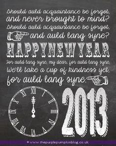 New Years Eve 2012 Chalkboard Art - Free Printable | The Purple Pumpkin Blog