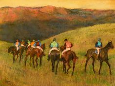 Race Horses in a Landscape, 1894, Edgar Degas #art #painting