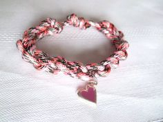 Paracord Valentine Bracelet with Heart Charm Pink by LakesideHaven, $6.00