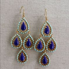 """Stella and dot Seychelles earrings Teardrop chandeliers feature bold lapis stones and hand-painted turquoise enamel. Frame and sterling silver earwire in gold plating.  2 1/4"""" long. Stella & Dot Jewelry Earrings"""
