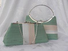 Spring Sale/ Mint silk dupioni  clutch purse/ by jemdesign567, $35.00