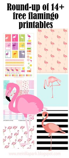 Free flamingo printables - Flamingos - round-up | MeinLilaPark – DIY printables and downloads
