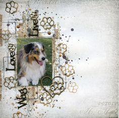 Layout by Michelle Logan, featuring Scrap FX products: Live Love Wag title, paw print stamps, Heart and Paw. www.scrapfx.com.au