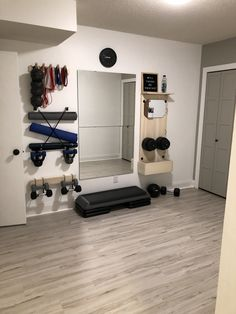 DIY Home Fitness Studio, Budget Home Gym, Weight Storage, Modern Fitness Room, Small Home Gym Ideas. Home Gym Basement, Home Gym Garage, Diy Home Gym, Gym Room At Home, Home Gym Decor, Best Home Gym, Basement Remodeling, Basement Workout Room, Home Yoga Room