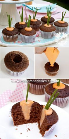 Easter Treat - Kids go crazy when they see the carrot inside the easter cupcake! Easy to make… Mais