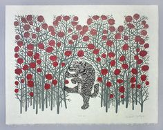 Big Bad Wolf - Woodcut Print, Woodblock Print(Etsy のtugboatprintshopより) https://www.etsy.com/jp/listing/109283383/big-bad-wolf-woodcut-print-woodblock