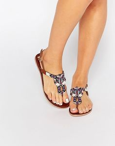 Pieces Carmen Beaded Leather Toe Post Flat Sandals