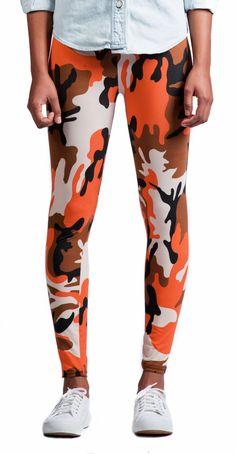 Orange and brown camo leggings