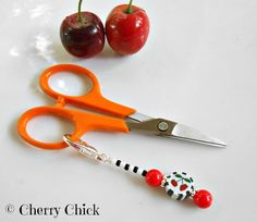 Cherry Purse Charm, Scissor Minder, Gift for Quilters by Decorative Sewing Pins