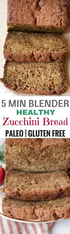 Healthy 5 minute Gluten free Zucchini Bread. Easy paleo breakfast. Gluten free bread recipes.