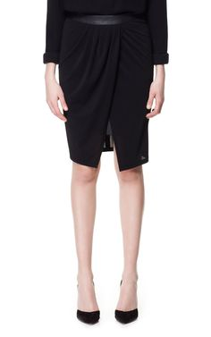SKIRT WITH FAUX LEATHER LINING - Skirts - Woman - ZARA United States