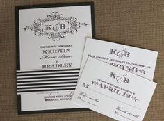 Etsy の Wedding Invitations Monogrammed Wedding by lemonseedandco