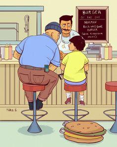 Norman Rock-well-done. (via nikoguardia) Bob's Burgers Bobs Burgers Memes, Tina Belcher, Bob S, Adult Cartoons, Norman Rockwell, Futurama, My Spirit Animal, Looks Cool, Favorite Tv Shows