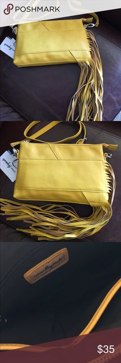 👛Yellow Fringe Crossbody👛 Yellow Fringe Crossbody/Clutch with inside pockets and adjustable strap Bags Crossbody Bags