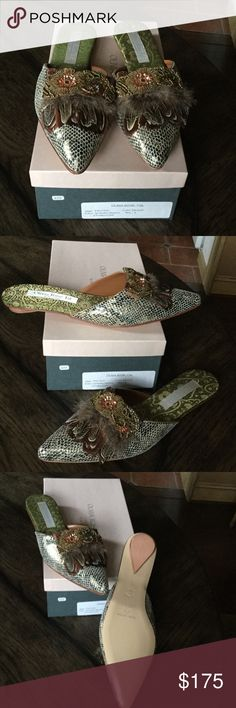 Olivia Rose Tal embellished mules Snakeskin mules embellished with sequins and feathers.  Brand new!  Mules are everything right now! Olivia Rose Tal Shoes Mules & Clogs