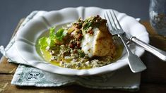 Roast monkfish with cumin and coriander spice and a baked aubergine purée