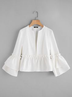 SheIn offers Tiered Bell Sleeve Frill Detail Peplum Blazer & more to fit your fashionable needs. Hijab Fashion, Fashion Dresses, Muslim Fashion, Hijab Stile, Mode Glamour, Peplum Blazer, Fancy Tops, Frack, Designs For Dresses