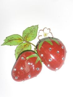 Strawberries with Bling Rock Art