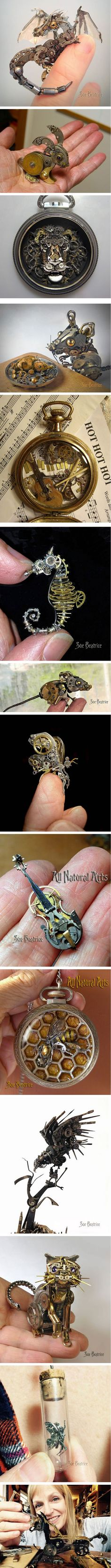 This Artist Recycles Old Watch Parts Into Steampunk Sculptures (By Susan Beatrice) - really impressive