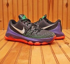 011704643776 2015 Nike KD 8 VIII Size 4.5Y-Black White Green Purple Hyper Orange- 768867  003
