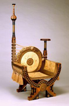 Carlo Bugatti | Armchair.  ca. 1895.  Wood, parchment, brass, white metal, silk @Andrea Lyn your hooka chair