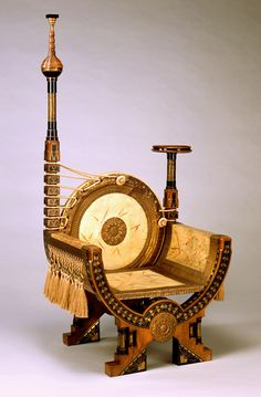 Carlo Bugatti Armchair. ca. 1895. Wood, parchment, brass, white metal, silk