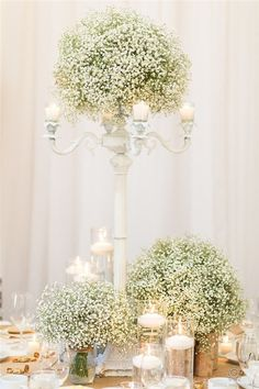 rustic wedding ideas – white baby breath wedding centerpiece ideas