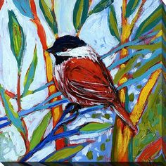 """Picture Perfect International """"Bird XVI"""" by Jennifer Lommers Painting Print on Wrapped Canvas Size: H x W x D Painting Collage, Painting Prints, Framed Art Prints, Canvas Prints, Bird Artwork, Canvas Wall Art, Bird Canvas, Art Projects, Drawings"""