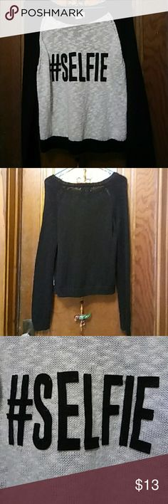 """Sweater Has the word """"SELFIE"""" in the front & plain in the back. Round neckline. So De Mel Sweaters Cowl & Turtlenecks"""