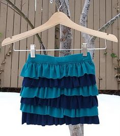 We love this one...Layered Jersey Skirt-- great way to reuse some of our old t-shirts