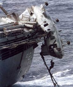 UH-46D Sea Knight after crashing into USS Suribachi when offloading ammunition 1992 [804x949]