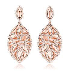 Luxurman 14k Gold 1 2/5ct TDW Designer Diamond Drop Earrings