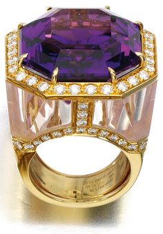 Rose quartz, amethyst and diamond ring, Margherita Burgener.     Centring on a mixed-cut amethyst framed with brilliant-cut diamonds, to a mount accented with lines of brilliant-cut diamonds and panels of rose-quartz, size N, signed Margherita Burgener, case stamped Margherita Burgener. Via Sotheby's.