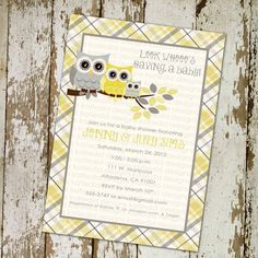 owl baby shower invitations with gray and yellow owls plaid, digital, printable file (item 1329c) Link to invites