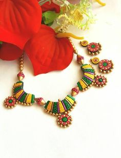 Multicolor Pendant Terracotta Jewellery Set with Earring Sets Length: on One Side Studs:-Approx Funky Jewelry, Fabric Jewelry, Jewelry Crafts, Jewelry Sets, Handmade Jewelry, Terracotta Jewellery Making, Terracotta Jewellery Designs, Terracotta Earrings, Biscuit