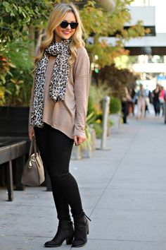 Leapord print scarf ties the whole outfit together