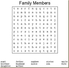 This letter soup is an activity for the children. This is very important for them because the children will look for the diferents member of the family and they will learn a new vocabulary. English Resources, English Tips, English Activities, English Lessons, Learn English, School Worksheets, Worksheets For Kids, Ingles Kids, Kids Word Search