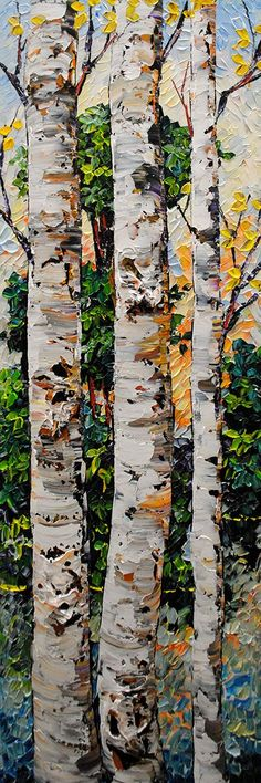 Ideas abstract birch tree painting forests for 2019 Watercolor Landscape, Landscape Art, Landscape Paintings, Watercolor Paintings, Tree Paintings, Birch Tree Art, Guache, Painting Inspiration, Amazing Art