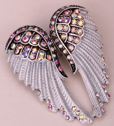 Angel wing brooch pin pendant women biker bling jewelry Xmas holiday gifts BD03  #Unbranded